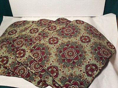 4 Quilted Placemats AUTUMN ROADS Longaberger Burgundy & Sage New Reversible