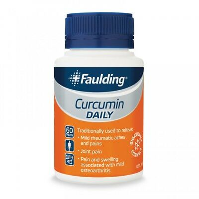 3 X Faulding Curcumin Daily 60 tabs:: BIOAVILABLE FORMULA: Relieve aches + pains