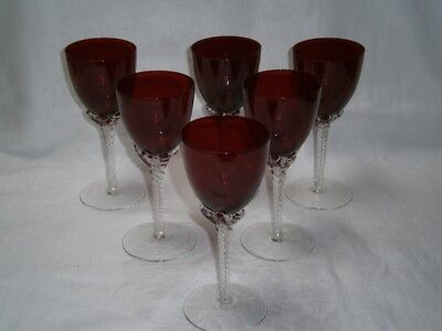 Vintage Set 6  Ruby Glass Wine Glasses With  Clear Glass Swirled Stem