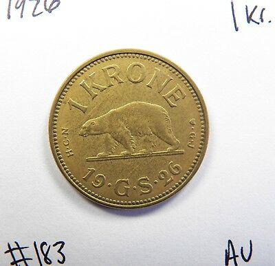 1926 Greenland 1 Krone in ABOUT UNCIRCULATED CONDITION, AMAZING AND SCARCE COIN