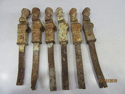 RARE FIND! 6 Antique FRENCH LADY SHUTTER HINGES LOCKS Cast Iron WROUGHT IRON