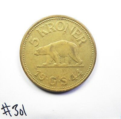 1944 Greenland 5 Kroner in EXTREMELY FINE CONDITION, AMAZING & BEAUTIFUL COIN