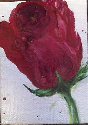 Acrylic Original Painting Aceo~Red Rose~Artist~Marina Del Rey