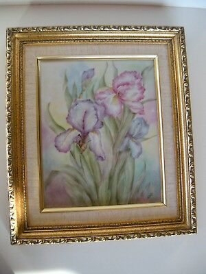 BEAUTIFUL HAND PAINTED PORCELAIN PLAQUE Signed~Iris Flowers Floral~Limoges Like