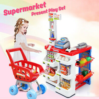 Kids Pretend Supermarket Toy Set Store Role Play w/ Trolley Food Battery 2018