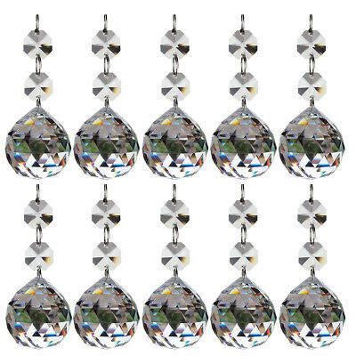 H&D 10pcs Clear Crystal Glass Ball Chandelier Prisms Pendants Parts Beads,30mm