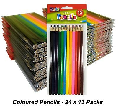 24 Packs x 12 Colour / Coloured Pencils Round Grip Art Colouring Drawing Kids