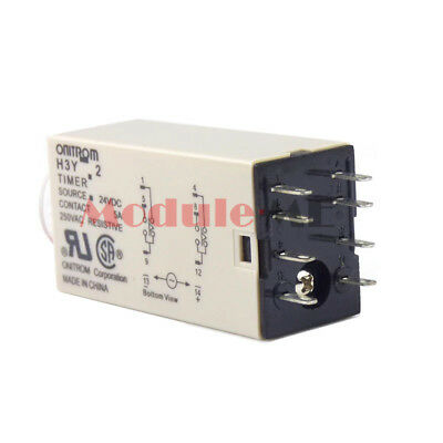 New DC 24V 8P Terminals DPDT 3 Seconds 3S Delay Timer Time Relay H3Y-2 UK