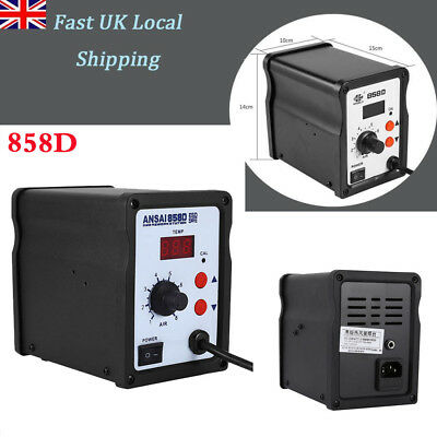 858D 220V SMD Soldering Resolding Rework Station Hot Air GunTool LCD Display UK
