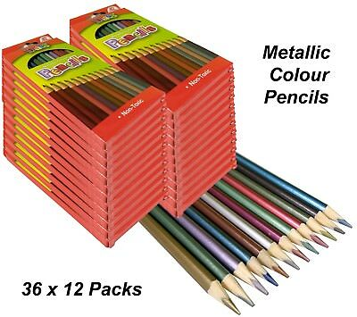 BULK 36 Packs x 12 Metallic Colour Pencils Art Colouring Coloured Drawing Art