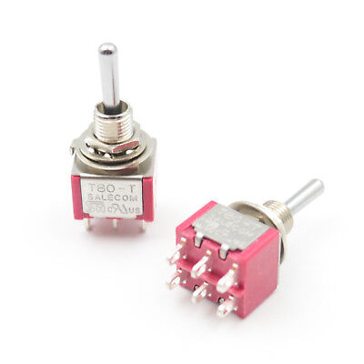 2Pcs SALECOM T8012A 6Pin 3Position Momentary (ON)-OFF-(ON) Mini Toggle Switch