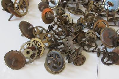 CLOCK GEARS & PARTS nearly 2kg of gears, flys, levers, springs etcetera
