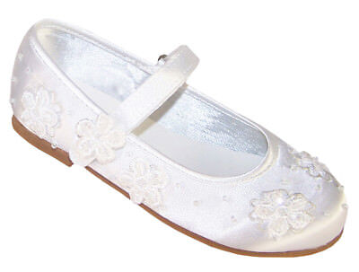 Girls White Satin Ballerina Shoes Flower Girl Communion Confirmation Occasion