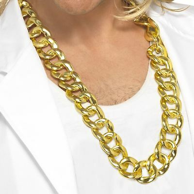 Adults Rapper Gangster Fake Gold Chain Bling 80s Necklace Fancy Dress Accessory