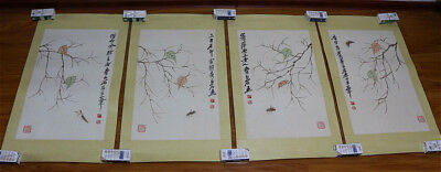 """RARE Chinese 100% Four Handed Paintings """"贝叶虫草"""" By Qi baishi 齐白石 镜心 ZZAL89"""