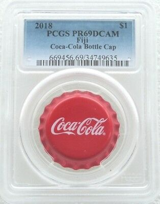 2018 Fiji Coca-Cola Bottle Cap Shaped $1 One Dollar Silver Proof Coin PCGS PR69