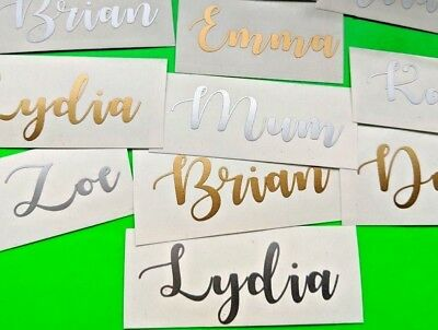 2X CUSTOM TEXT Personalized Name Stickers,Vinyl Decal Bottle, Wedding, Car
