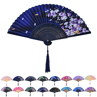 Chinese Hand Held Fan Bamboo Silk Butterfly & Flower Folding Fan Wedding Decor..