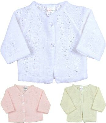 BabyPrem Baby Girls Clothes Knitted White Pink Cardigan Sweater Cardi NB - 3m