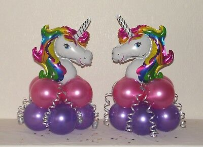 2 or 4 PACK UNICORN  BALLOON TABLE DECORATION DISPLAY KIT -NO HELIUM NEEDED -NEW