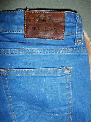 RIVER ISLAND Mid Blue Stonewashed DENIM STRETCH SKINNY JEANS~28/25
