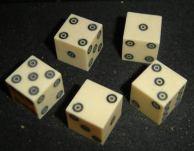 5 Rare Vintage Ring Eye Dice Made Of French Ivory-From The 30/40s Era-Collectors