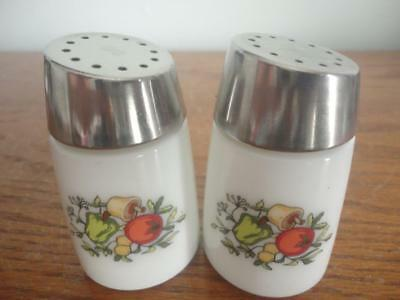 "Vintage Pair Of Porcelain Salt & Pepper Shakers Stainless Top 3""x2""starline902"