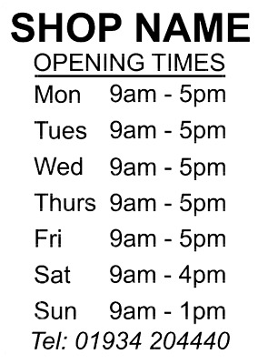 Opening Hours Times Shop Name Vinyl Sign Sticker Personalised Barber Coffee Bar