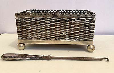 """Silver Handle Button Hook B 1920s 6"""" & Silver Plated Cigars Case / Holder 5"""""""