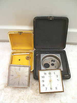 Marksman German Winding Movement Clock & Another With 2 Cases For Spare Repair