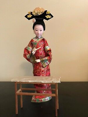 "Vintage 11"" Chinese Qing Dynasty Court Painter Doll with Paintbrush and Table"