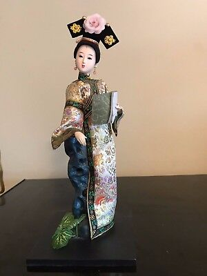 "Vintage 12"" Chinese Qing Dynasty Court Poet Doll with Manuscript"