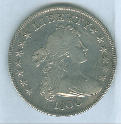 Genuine 1800 Draped Bust Type US Silver Dollar, Fine+Details