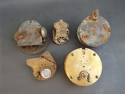 Job lot of 5 vintage clock movements for parts spares steampunk