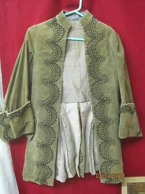 Antique Frock Coat olive green Velvet with black Embroidered Braiding