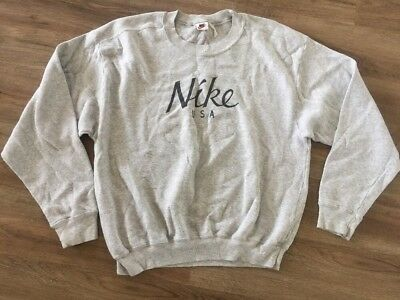 Vintage 1980s Nike USA Gray Sweatshirt Old School Hip Hop