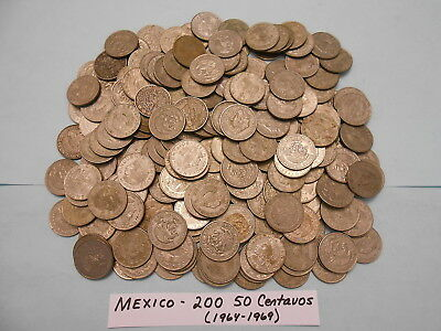 World Coin Lot:  200 50 Centavos (1964-1969)  from Mexico                  (#22)