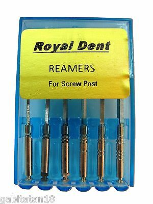 REAMERS DRILLS FOR SCREW POSTS GOLD PLATED Assorted 6 pcs box #1 to #6 Dental