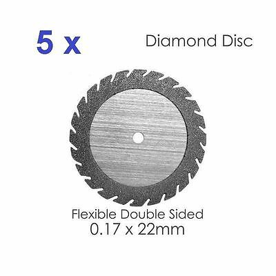 Diamond Disc For Dental Lab Double Sided Disk x 5, 0.17* 22mm (#1) Dental Supply