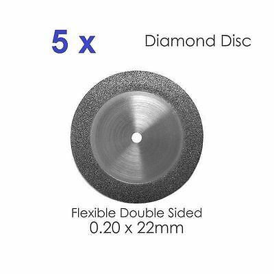 Diamond Disc For Dental Lab Double Sided Disk x 5 0.20 x 22mm (#2)