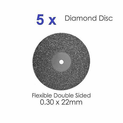 Diamond Disc x 5 For Dental Lab Double Sided Disk 0.30 X 22mm- (#4)