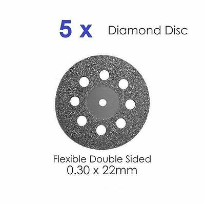 Diamond Disc x 5 For Dental Lab Double Sided Disk 0.30 X 22mm #5 Dental Supplies