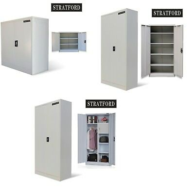 Filing Cabinet Office Document Cupboard Metal Storage Organiser Furniture White
