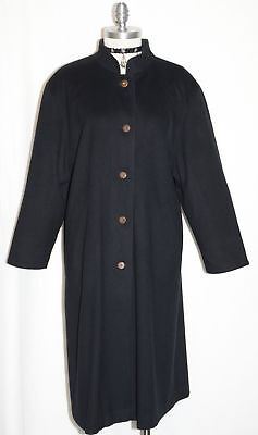 LODENFREY Boiled WOOL LONG Over Coat BLACK Austria Women Winter Trench 20 16 L