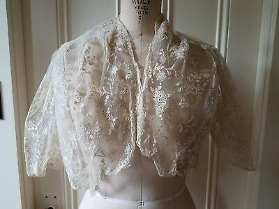 Antique Cream Lace Victorian Shawl Wrap Jacket Handmade Vintage - early 1900's