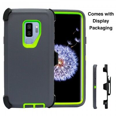For Samsung Galaxy S9 Case (Belt Clip Holster Fits Otterbox Defender) GRAY GREEN