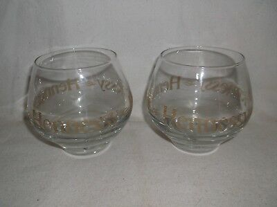 Pair of Hennessy Cognac Roly Poly Snifter Glasses Controlled Bubble Advertising