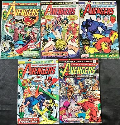 Lot Of 5 The Avengers (Marvel,1975) #132, 133, 136, 138, 142 Bronze Age
