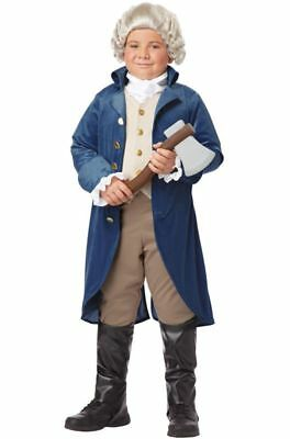 George Washington Costume Child Boys Thomas Jefferson Pioneer Colonial Blue