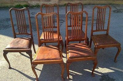 Vintage Queen  Anne Style Leather Seated Dining Chairs x6